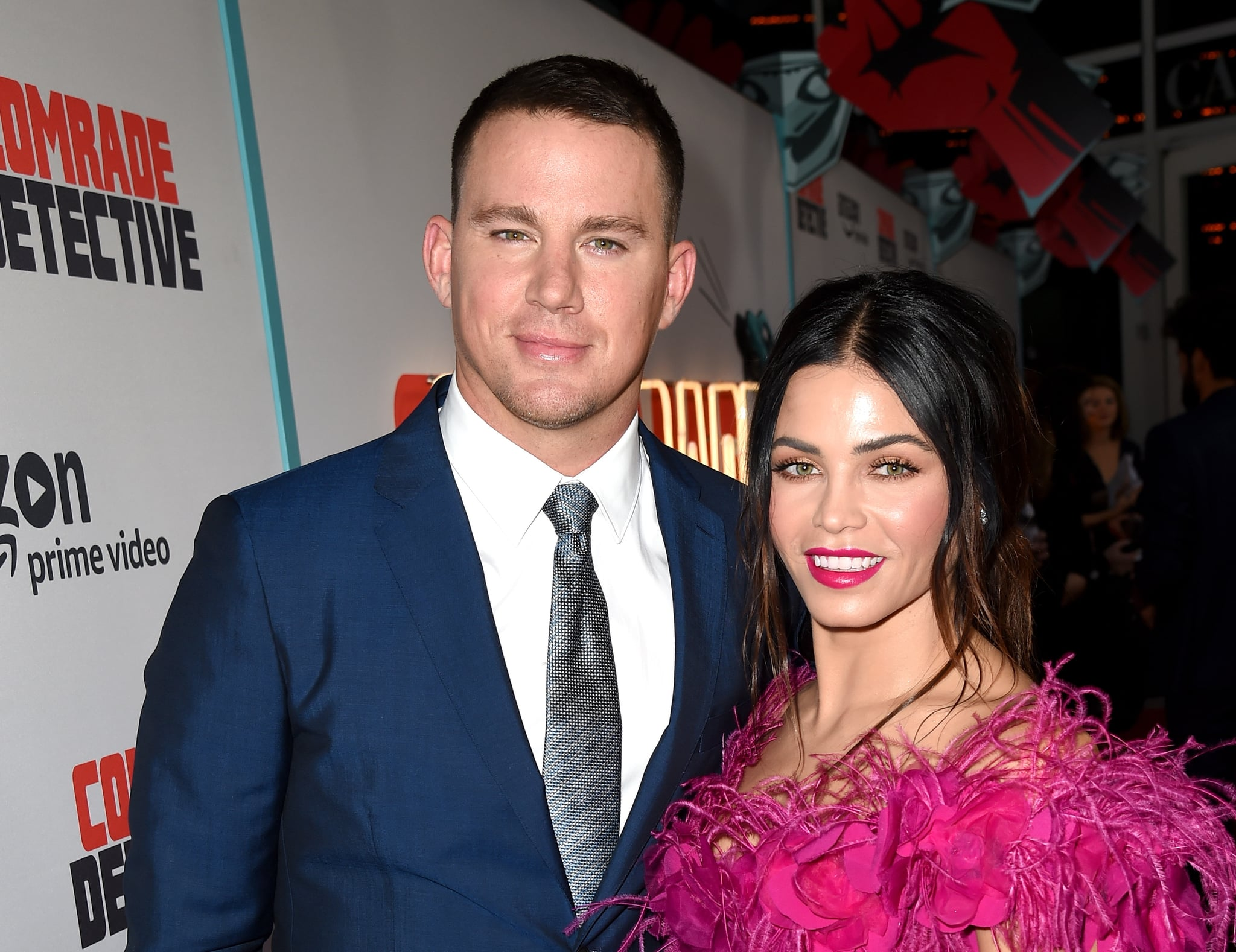 LOS ANGELES, CA - AUGUST 03:  Actor Channing Tatum (L) and his wife Jenna Dewan Tatum arrive at the premiere of Amazon's