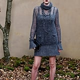 Lara Stone Wore Her Sweater Dress Draped With a Beaded Necklace