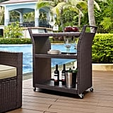 Espresso All Weather Wicker Pinamar Outdoor Rolling Bar Cart