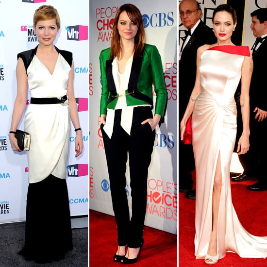 Pictures of Best Dressed Celebrities Angelina Jolie, Emma Stone, Michelle Williams, Lea Michele and More From 2012 Awards Season