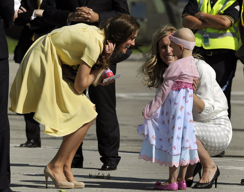 Prince William and Kate Middleton continued their tour across Canada today touching down at Calgary International Airport. The duchess wore a gorgeous Jenny Packham summery yellow dress for their latest stop. The royal couple exchanged hugs on the tarmac with a young fan, 6-year-old Diamond Marshall, before they were then presented with traditional white hats by the city's Naheed Nenshi. Kate and William are wrapping up their stay in the Great White North and tomorrow they'll make their way south to LA. There's a full day planned as well as a reception in LA tomorrow night followed by a polo match in Santa Barbara Saturday morning and the black-tie BAFTA gala later that night. If you've missed out on their travels and activities don't worry; we've got all the photos of Kate and William's first royal travels!