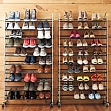 Chrome Metal 10-Tier Rolling Shoe Rack
