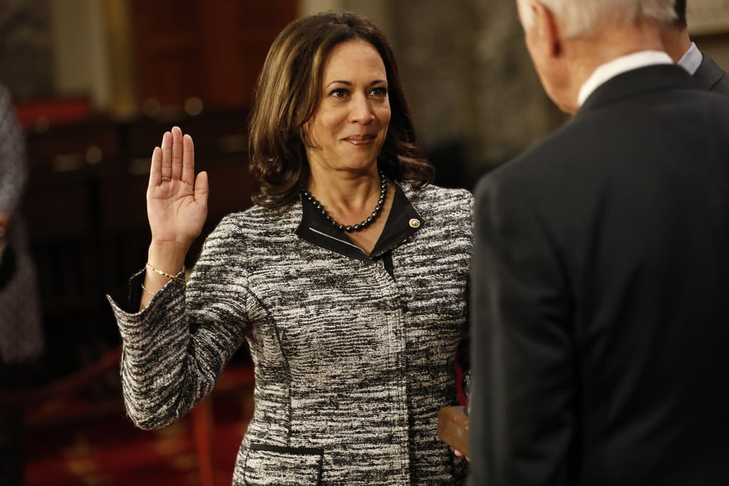 Taking a turn back to her darker set of pearls, Kamala played up the black accents of her tweed blazer, pressing her collar just enough to put her jewelry on display in Washington DC in 2017.