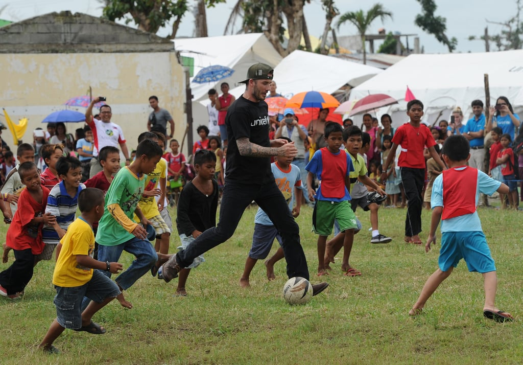 David Beckham Is Having a Ball With Kids in the Philippines
