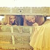 Lauren goofed around in an antique treasure chest with a friend.  Source: Instagram user laurenconrad