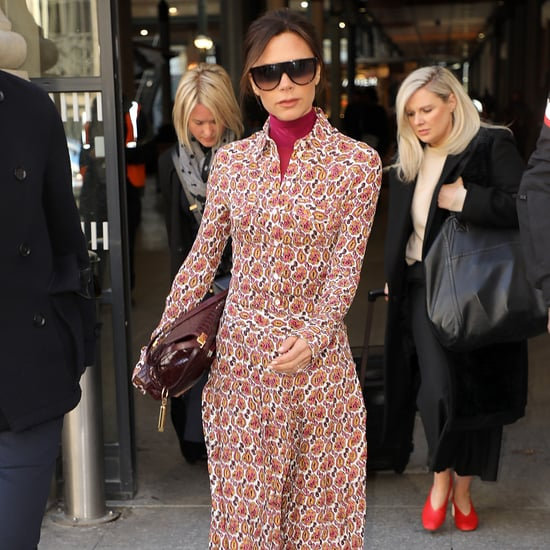 Victoria Beckham Wearing Red Boots