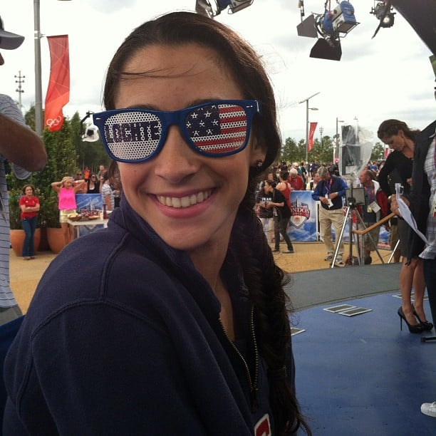 Gabby Douglas snapped a shot of her teammate Aly wearing Lochte glasses.  Source: Twitter user gabrielledoug