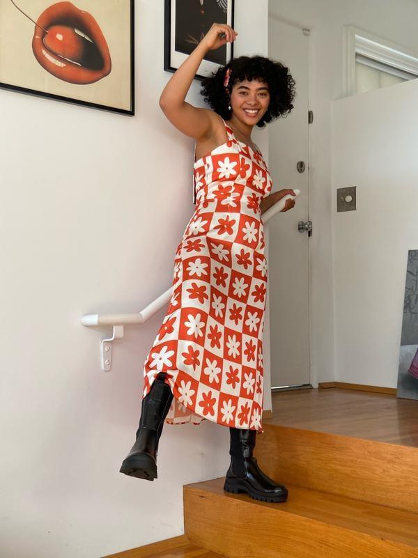 Lisa Says Gah! x KJP Sloane Midi Slip Dress - Orange Daisy Check