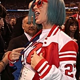 Katy Perry attended the 2012 Bridgestone Super Bowl XLVI Pregame Show in Indiana rocking a blue 'do.