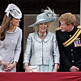 Prince Harry leaned in to chat with his sister-in-law during the 2012 Trooping the Colour ceremony.