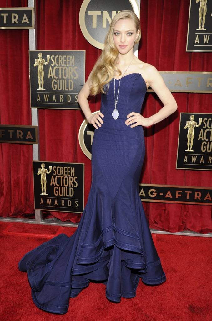Amanda Seyfried wore a blue Zac Posen to the SAG Awards in LA.