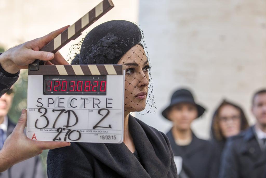Monica Bellucci on the Rome set.