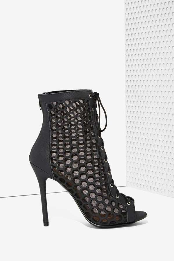 Nasty Gal Lace-Up Vegan Leather Bootie ($88)