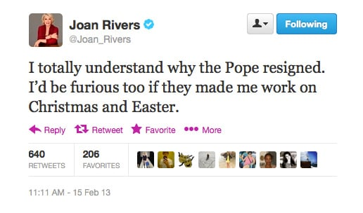 Joan Rivers relates to the Pope. Who'da thunk it?