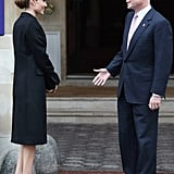 Angelina Jolie and William Hague talked outside the Lancaster House before attending G8 Foreign Ministers' conference.