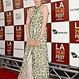 Greta Gerwig wore a patterned gown to the LA premiere of To Rome With Love.