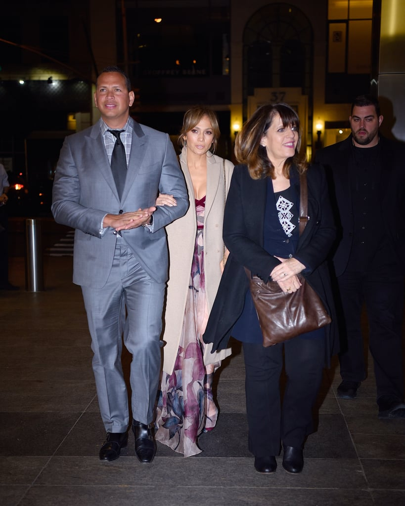 """Jennifer Lopez and Alex Rodriguez continue to prove their fashion game is on another level. The couple stepped out on Mother's Day with Alex's mom, Lourdes, and in typical J Lo fashion, she stole the show with her outfit.    Jennifer wore a floor-length sheer Elie Saab dress with a beautiful purple and blue watercolor floral print, but it was a hidden detail on her dress that caught our attention. The corset-like silhouette added the perfect amount of sexy to Jennifer's ethereal look.      Earlier in the week, rumors swirled that Jennifer had spent time with her boyfriend's mother while on set for her show Shades of Blue. It turns out, the woman accompanying J Lo's mom, Guadalupe, was her sister. J Lo made sure to clarify the mistake on her Instagram by posting a video of her mom and aunt getting down to her song """"On the Floor.""""        Keep scrolling to see more photos of her gorgeous Mother's Day outfit and to shop the look.       Related:                                                                                                           There's 1 Clear Difference in Jennifer Lopez's Style This Year"""