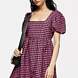 Pink Gingham Check Mini Dress