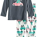 Retro Car Top & Fleece Bottoms Pajama Set