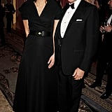 Chairman of the BFS posed with the new ambassador Samantha Cameron in an Osman gown.