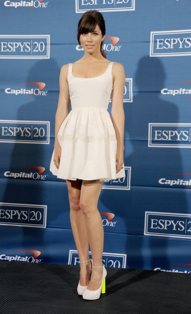 Jessica Biel Paired Her White Christian Dior Fit And Flare