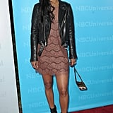 Joy Bryant toughened up a little lace dress with a rocker-chic leather jacket.