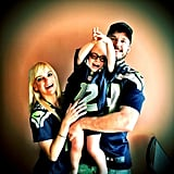 Chris Pratt shared this cute picture of his wife, Anna Faris, and their son, Jack Pratt, on Twitter. The photogenic family donned Seattle Seahawks jerseys to celebrate the team's Thanksgiving game.