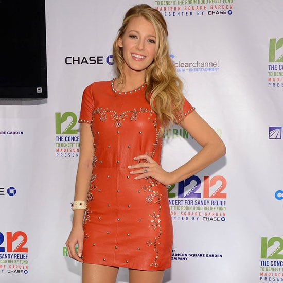 Blake Lively Wearing Studded Red Leather Dress