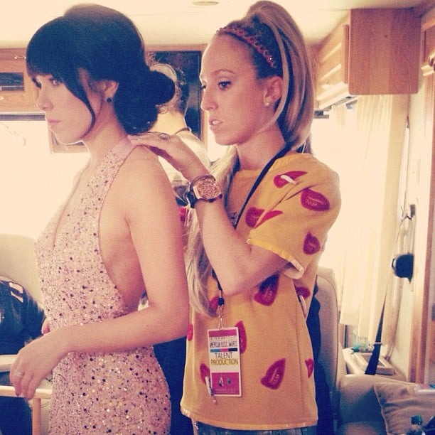 Carly Rae Jepsen got some help from a stylist before stepping onto the red carpet. Source: Instagram user carlyraejepsen