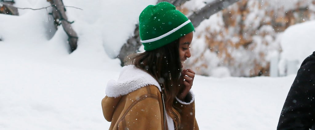 Malia Obama Pops Up in Snowy Utah While Her Parents Kick Back on the Beach