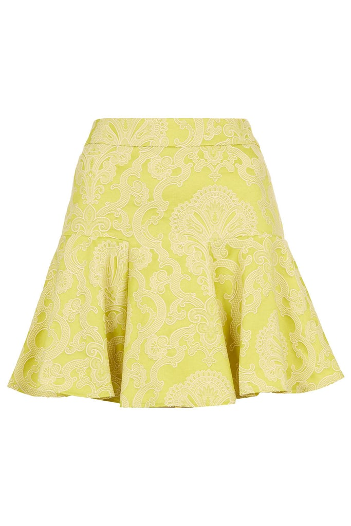 Pair Topshop's lime jacquard skirt ($76) with a white blouse and sharp navy pumps for a refreshing office look.