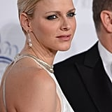 Princess Charlene wore a sleek updo and drop earrings for the gala in New York City.
