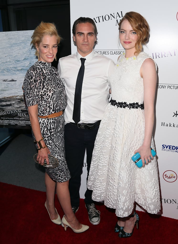 Emma Stone showed love for her costar Joaquin Phoenix when the actors hit the red carpet at the LA premiere of Irrational Man on Thursday. She wore a white dress with printed heels for the big night and was all smiles as she posed for pictures. At one point, Emma linked up with both Joaquin and actress Parker Posey to snap photos. Keep reading to see all the best pictures of Emma at this week's premiere, then check out the trailer for Irrational Man, Woody Allen's new film.