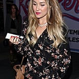 Lauren Conrad wore a bright shade of red lipstick for the concert.