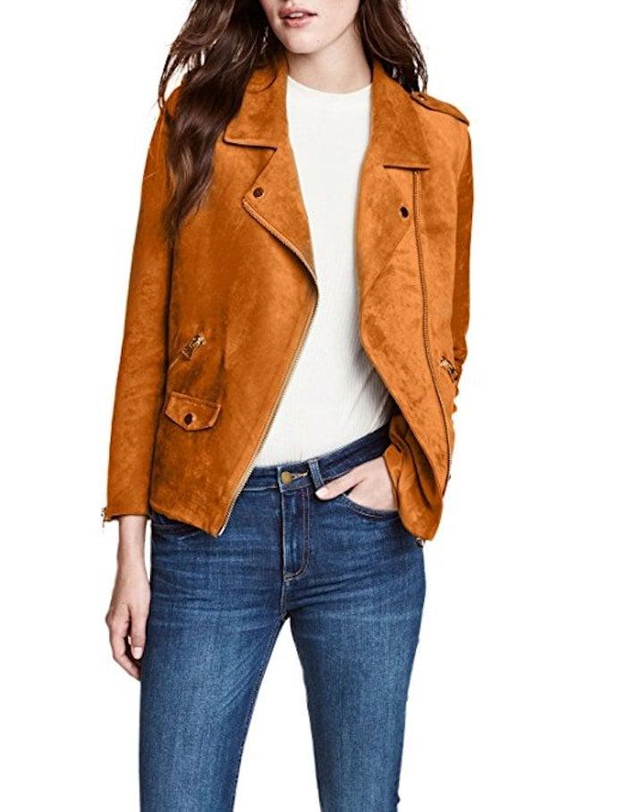 HaoDuoYi Suede Short Moto Jacket