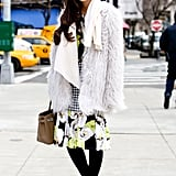 Her pretty prints got a rich Winter contrast with furry outerwear.