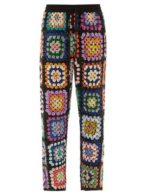 Ashish Sequinned Patchwork Crochet Trousers