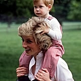 Diana gave her son a piggyback ride when they visited Highgrove House in July 1986.