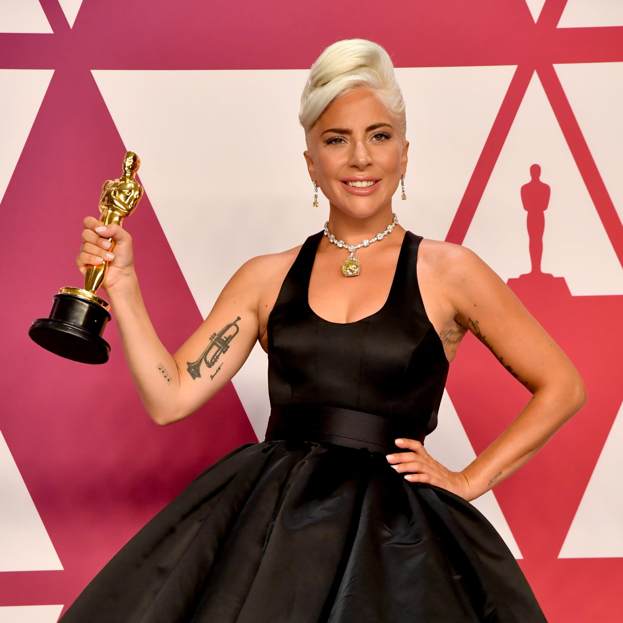 HOLLYWOOD, CALIFORNIA:  (EDITORS NOTE: Retransmission with alternate crop.) Lady Gaga, winner of Best Original Song for 'Shallow' from 'A Star is Born' poses in the press room during the 91st Annual Academy Awards at Hollywood and Highland on February 24, 2019 in Hollywood, California.  (Photo by Jeff Kravitz/FilmMagic)
