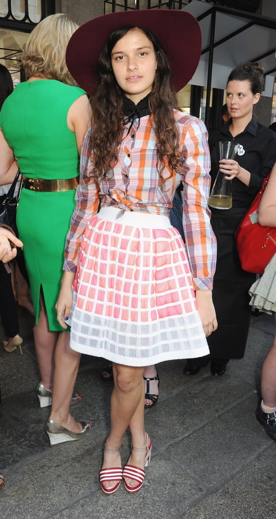 Evangeline Ling topped her graphic ensemble with an oversize hat at the Chanel getthegloss.com party.