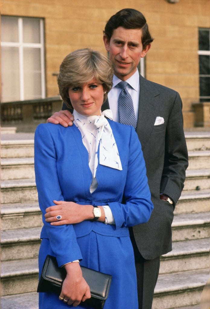 For her engagement announcement in 1981, Diana wore a blue Cojana skirt suit to complement her new sapphire engagement ring.