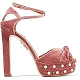 Aquazzura Harlow embellished velvet platform sandals ($950)