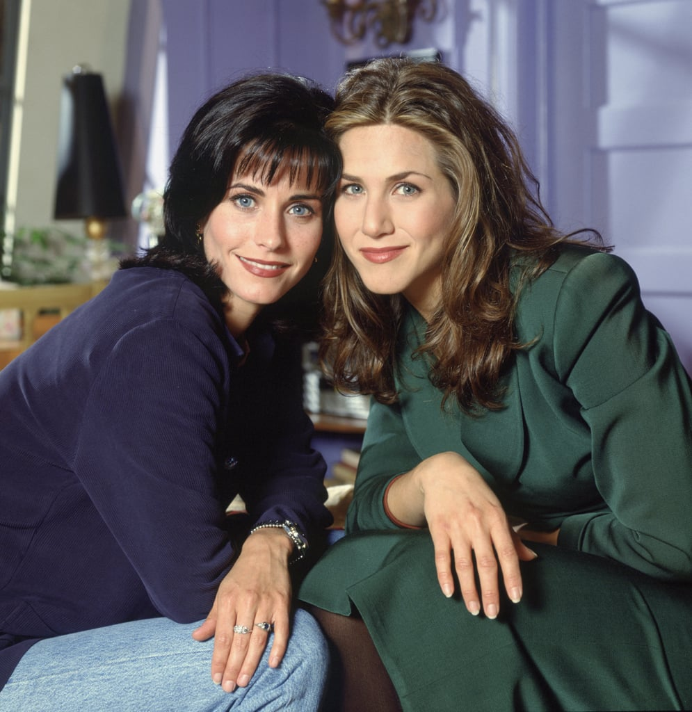 Jennifer Aniston and Courteney Cox met after being cast in Friends, but their real-life relationship is like the best version of work wives turning into real-life BFFs. In addition to starring together on the hit NBC sitcom for 10 years, their offscreen bond has mirrored Rachel and Monica's; Courteney named Jen as the godmother of her daughter, Coco Arquette, in 2004, and was by Jen's side as maid of honor during her 2015 wedding to Justin Theroux. They've been together through career milestones, breakups, and personal triumphs, and we're celebrating their decades-long friendship with their best photos over the years.