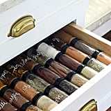 Having a designated spice drawer makes it easy to see and grab all of the spices you regularly use.