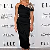 Kate Hudson makes an entrance in a one-shoulder, embellished Prabal Gurung.
