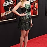 Scarlett Johansson wore a green printed Rodarte mini for the premiere of Hitchcock in November.