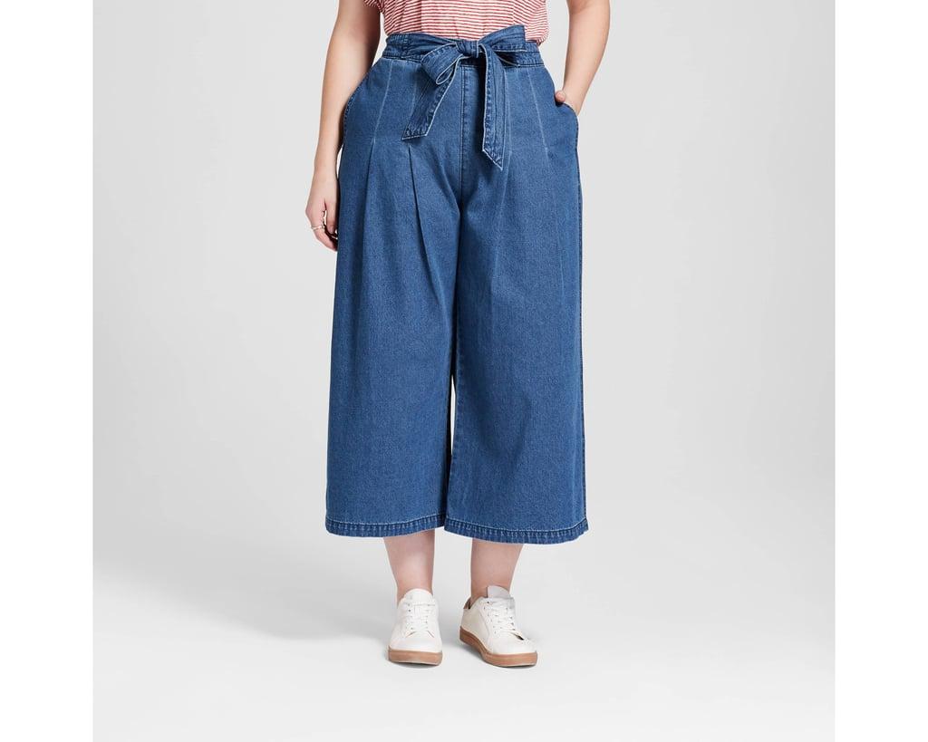 89aef110438 Women s Plus Size Tie Front Wide Leg Jeans