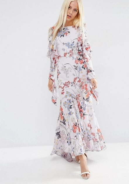 1952db03501cf Cold Shoulder Long Sleeve Ruffle Maxi Dress In Grey Floral