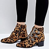 ASOS Relieve Wide Fit Leopard Ankle Boots