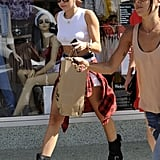 Miley Cyrus walked with friends in LA.